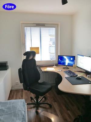 FÖRE: Ett extrarum som fungerar som både kontor och gästrum. Praktiskt men trångt. Foto: Lina Bergroth