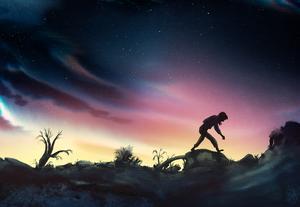 Kain dödar sin bror Abel och tvingas därefter vandra olycklig och rastlös över världen.  Illustration av Marcus-Gunnar Petterssons i  nya