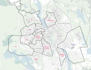 Södertälje kommun tar fram strukturplaner för alla områden, nu är det dags för Hovsjö, längst ner till vänster i bild.Karta: Södertälje kommun