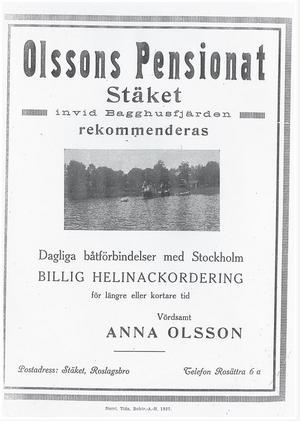 """I en annons från NT 1927 lockar Olssons pensionat med  """"billig helinackordering""""."""