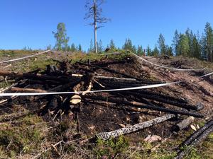 Så här såg det ut vid ett av brandområdena på onsdagsförmiddagen.