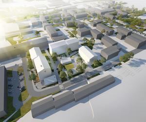 Skiss som visar hur det nya bostadsområdet vid det gamla kommunförrådet ska se ut. Svenska studenthus räknar med att bygga omkring 300 studentbostäder. Skiss: Reflex Arkitektur