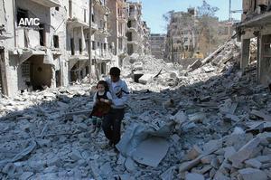 Aleppo i Syrien är sönderbombat av al-Assads regeringsstyrkor.