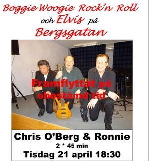 Musikcafé med Chris O'Berg och Ronnie Sahlén 21 april är framflyttat på obestämd tid