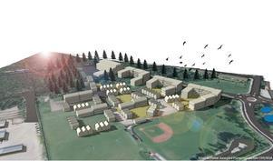 En skiss över hur ett framtida bostadsområde på platsen skulle kunna se ut. Illustration: Petter Jonegård, Gävle kommun.