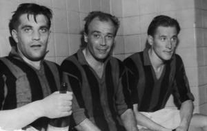 Nils Liedholm med lagkamraterna Gunnar Gren och Gunnar Nordahl. Bild: TT