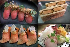 Nigiri  med tofisk och lax. Till höger katsu sando och sashimi.