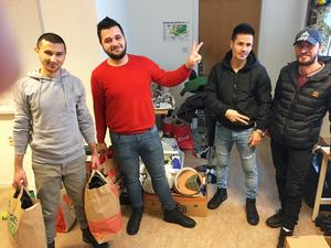 Ahmed Jamal, Amin Taha, Rohulla Jafari och Milad Alakel på Härnösands folkhögskola.