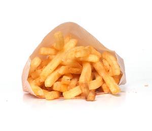 Lunchkollens pommes frites-smak får underkänt av skribenten.