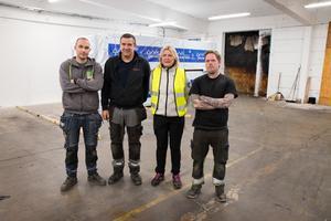 Glenn Johansson, Stefan Wäster, Susanne Holmberg och Johan Lundberg  delar upplevelsen av att deras arbetsplats höll på att förstöras i en våldsam brand