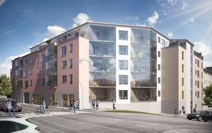 Bostadsrättsföreningen Hyttbäcken, en skiss visad från övergångsställen på Engelbrektsgatan. Till höger syns den sluttande Gruvgatan. Illustration: Lillskär.