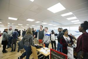 Ett 70-tal arbetssökande ungdomar anländer till Tierps Arenas nya konferensanläggning där 16 företag tar emot dem för att prata om jobb och praktikplats.