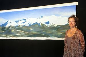 Magdalena Brunzell hade bland annat en flera meter lång fjällmålning som var svår att missa