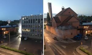 Rök på gatan utanför polishuset på Västgötegatan.