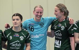 En lycklig lördag för Rebecka Östling, Emina Jonasson och Maja Axell. Nu återstår att se vilka känslor som får spelrum efter söndagens bortamatch.