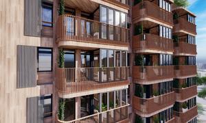 Stadsarkitekten har gått med på att balkongerna blir extra stora, för att Jason Pomeroys vision om en boendemiljö där vinterträdgården ska fylla en funktion alla årstider ska fungera. Illustration: Pomeroy Studios