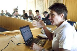 Birgitta Sacrédeus vill inte avslöja om den nya majoriteten kommer utöka antalet landstingsråd från fyra till sju. Hon hävdar att kostnaderna för politikerna inte kommer öka.