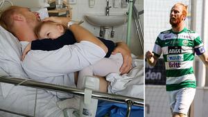 Calle Svensson med sitt barn på sjukhuset.  Foto: Privat
