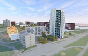 Det planeras för 550 nya lägenheter på Hammarby – ett av de största byggprojekten under senare år i Västerås.Illustration: EttElva/Archus