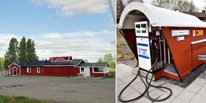 Här vid campingen och restaurang Silverbocken ska den nya bensinstationen ligga är det tänkt. Bilden till höger visar bensinstationen i Åmot. Bilder: Arkiv