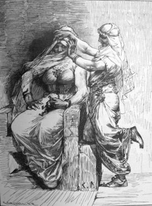 Tor klär ut sig till Freja och Loke till hans brudtärna. Illustration av Carl Larsson.