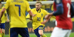 Emil Forsberg sköt 1–1 till Sverige i mötet med Norge. På lördag väntar stormatch i Bundesliga mot Bayern München. Bild: TT.