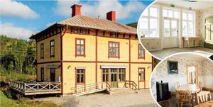 Stationshuset i Skorped. Infällda bilderna visar nedervåningens entréhall (övre bilden) och den inre matsalen (nedre bilden).  Foto: ERA Mäklarbyrå