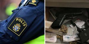 Montage. Foto: Johan Nilsson/TT, polisens förundersöning.  I en byrålåda i huset hittades patroner. Vapnet visade sig dock vara en kolsyrepistol som det inte behövdes tillstånd för.