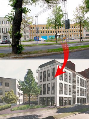 Östra Ringvägen nu och sedan. Det gamla huvudkontoret blir kvar. Ett nytt hus byggs intill vägen.Foto: Britt-Louise Bergström/Sweco Architects
