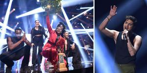 Årets vinnare Tusse jublar efter att ha vunnit Melodifestivalens final 2021 – och till vänster ser vi nästa års programledare Oscar Zia.