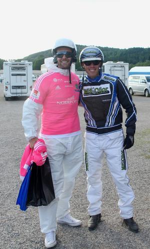 GIF Sundsvalls målvakt Tommy Naurin och kusken Henrik Svensson efter loppet de körde tillsammans. Foto: Björn Brånfelt.