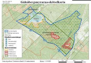 Karta över Gideåbergsmyrarnas reservat. Illustration: Länsstyrelsen