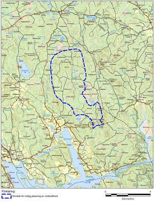 Översiktskarta över projektområdet. Foto: Cajsa Abrahamsson, Tekniska verken Vind.