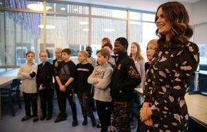 Sofia träffade och talade med elever i årskurs fyra.