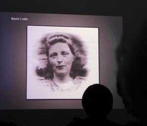Bo Lundmark föreläste om flyktingar och kurirer i Härjedalen under det andra världskriget. Bilden visar Ingeborg Anna Feragen som hjälpte norska motståndsmän och 1942 frös ihjäl på gränsfjällen vid Tännäs.