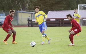 Zackarias Faour - ungdomsproffs i Manchester City – hittade en lucka i Portugals försvar.