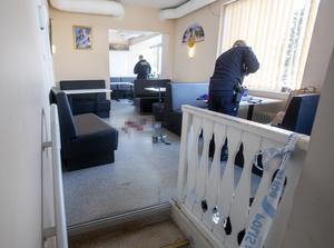 Polisens tekniker genomförde en brottsplatsundersökning i restaurangen under onsdagen.