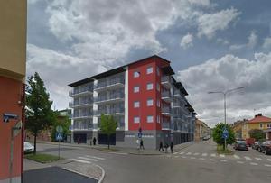 Nu är beviljandet av bygglovet det enda som behövs innan Ludvikahem kan dra i gång storbygget i fem våningar i hörnet Köpmansgatan – Fredsgatan.Skiss: Ludvikahem