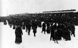 Året är 1912 och det första tåget kommer in på stationen i Strömsund. Trots kraftigt snöfall kom mängder av människor för se på begivelsen.