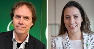 Miljöpartisterna Pär Holmgren och Naiara Pereira Cunha kandiderar till Europaparlamentet. Foto: Anders Wiklund/TT och Monika Nilsson Lysell