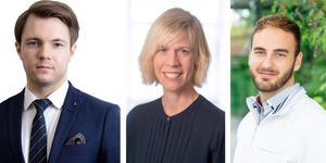 Från vänster: Willhelm Sundman (L), oppositionsråd Region Örebro län, Maria Nilsson (L), riksdagsledamot och högskolepolitisk talesperson och Christoffer Heimbrand, ordförande Liberala Studenter.
