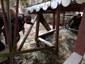 Översvämning i Färnäs stugby i Mora kommun.Foto: Mora Brandkår