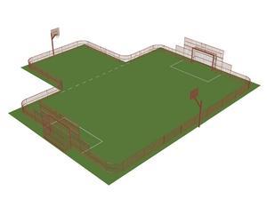 Så här är det tänkt att multisportarenan på Bergaskolans skolgård ska se ut. Skiss: Tekniska kontoret/Smedjebackens kommun