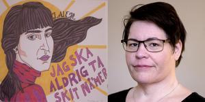 Karin Lind Martinsen är ny verksamhetschef för kvinnojouren Kullan. I ett av rummen sitter konst av Femkonst. Illustration: Femkonst