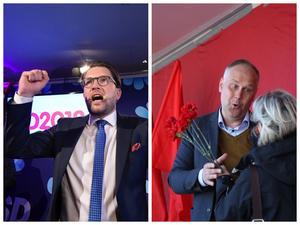 Illa –men lika illa? SD:s Jimmie Åkesson och V:s Jonas Sjöstedt.