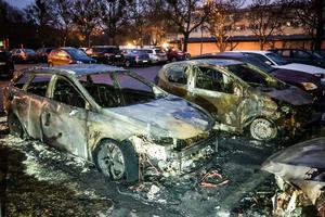 Sex bilar förstördes i branden, men inga personer skadades.