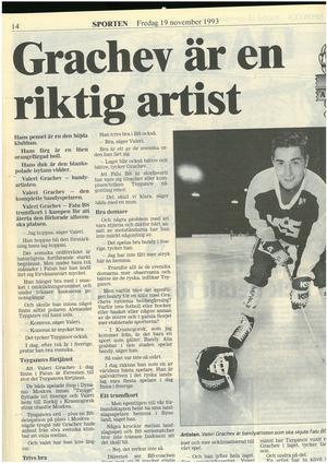 Faksimil från Falu-Kuriren den 19 november 1993. Valeri Grachev inför debuten i svensk bandy och division 1 norra.