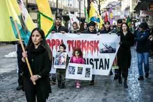 Uppskattningsvis 150 personer samlades i manifestationen.