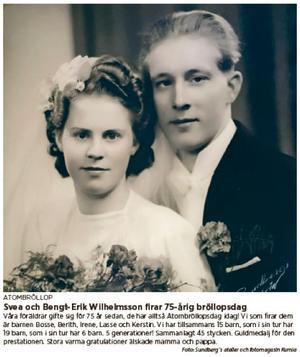 Så här såg grattisannonsen ut i NA den 8 april. Bröllopsbilden togs en gång av Sundbergs atelie och fotomagasin i Kumla.