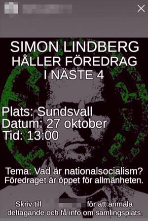 Under oktober nådde följande annons en del Instagramanvändare. Föredragshållaren Simon Lindberg är i dag Nordiska motståndsrörelsens ledare i Sverige. Bild: Skärmdump från Instagram